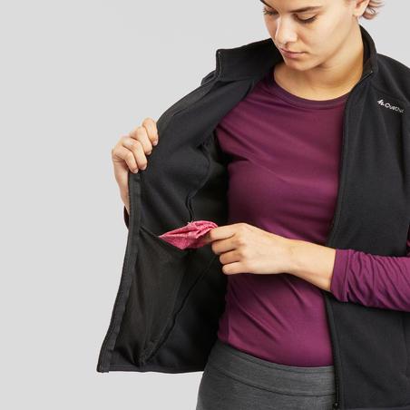 """Sieviešu flīsa veste pārgājieniem kalnos """"MH120"""", melna"""