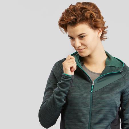 Women's Mountain Walking Fleece Jacket MH900 - Mottled Green