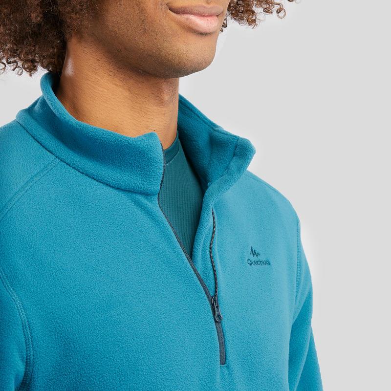 Men's Mountain walking fleece MH100 - Turquoise
