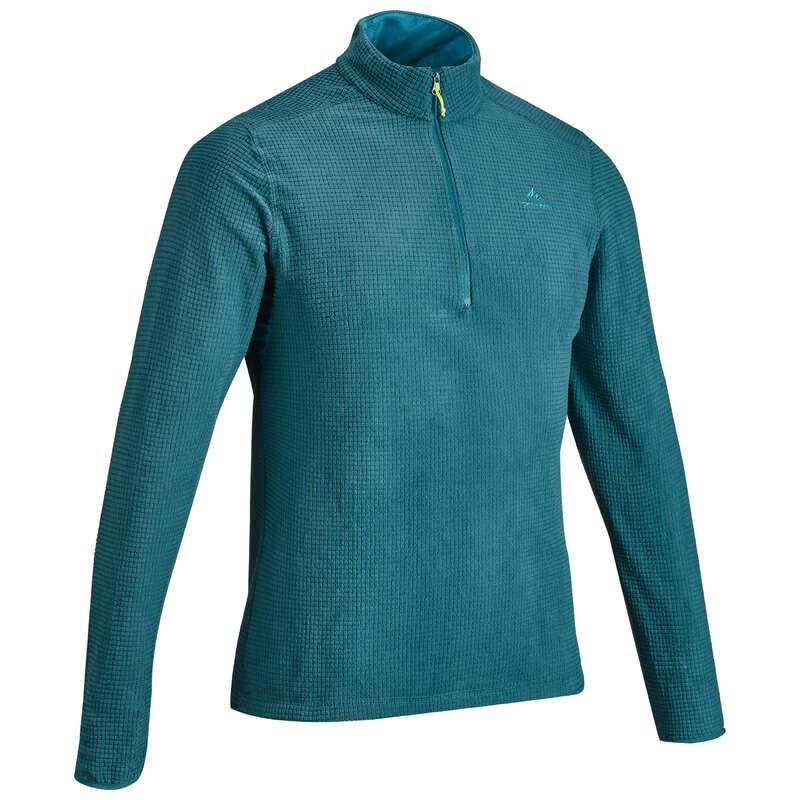 MEN MOUNTAIN HIKING FLEECES Hiking - M Fleece MH500 - Turquoise QUECHUA - Hiking Clothes