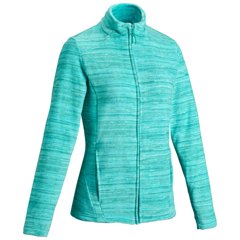 WOMEN MOUNT HIKING FLEECES Hiking - Women's Fleece MH120 - Green QUECHUA - Hiking Clothes