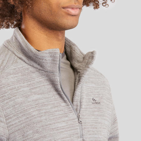 MH100 Men's Mountain Hiking Fleece - Mottled Grey