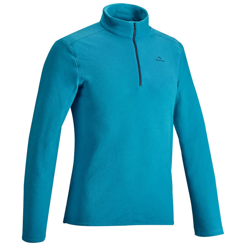 MEN MOUNTAIN HIKING FLEECES Hiking - M Fleece MH100 - Turquoise QUECHUA - Hiking Clothes