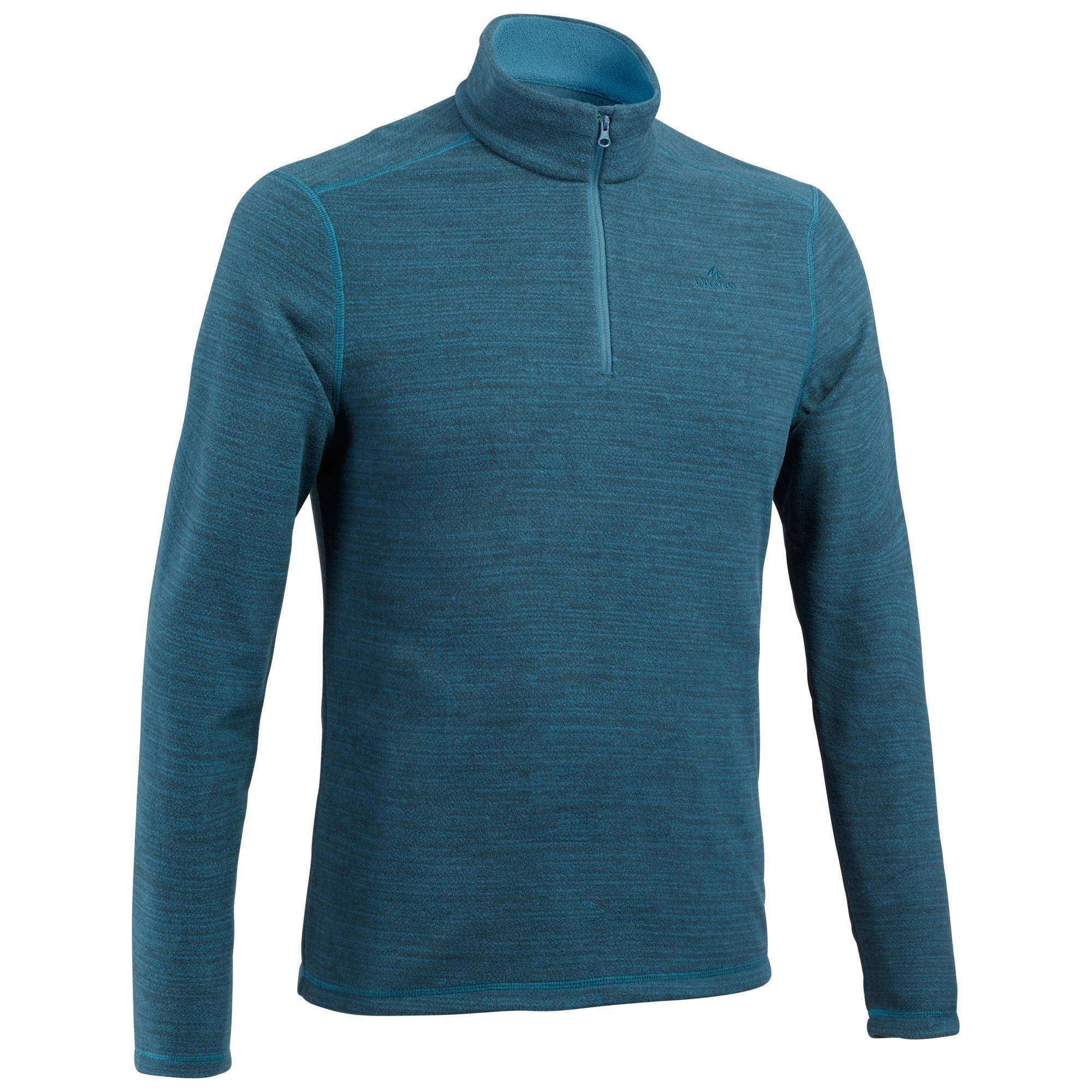 Fleecepullover Bergwandern MH100 Herren blau meliert | Sportbekleidung > Fleecepullover | Blau | Quechua
