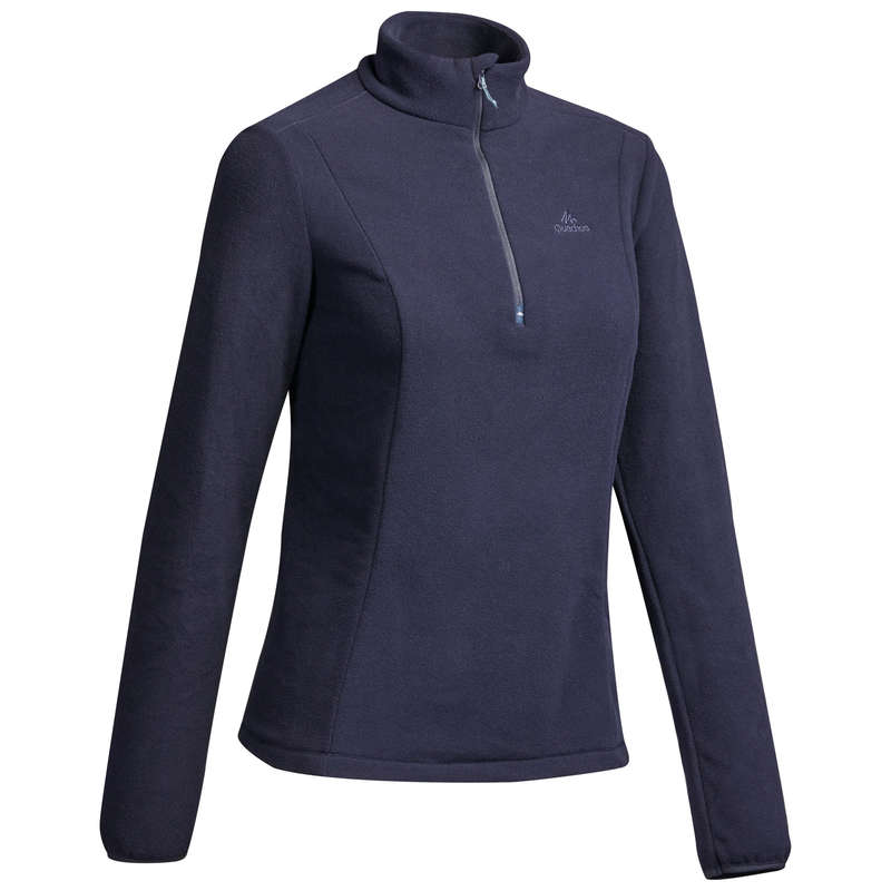 WOMEN MOUNT HIKING FLEECES Hiking - MH100 W Fleece - Navy QUECHUA - Hiking Clothes