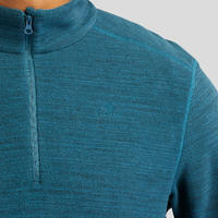 Men's Mountain Hiking Fleece Sweater MH100 - Petrol Blue