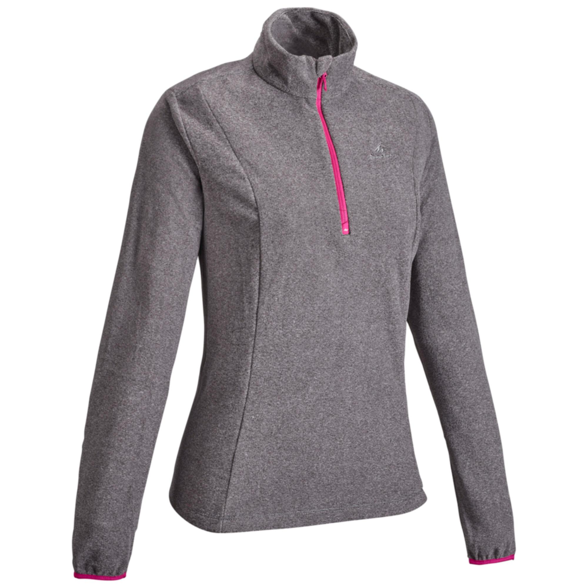 Fleecepullover Bergwandern MH100 Damen grau | Sportbekleidung > Fleecepullover | Quechua