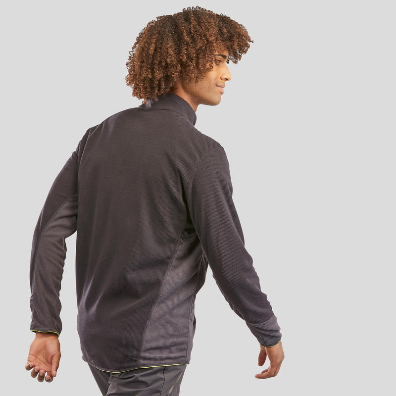 เสื้อแจ็คเก็ตผ้าฟลีซผู้ชายสำหรับใส่เดินป่าบนภูเขารุ่น MH520 (สีดำ)