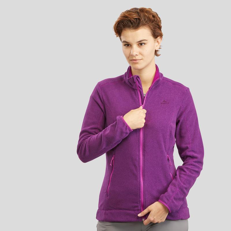 เสื้อแจ็คเก็ตผ้าฟลีซผู้หญิงสำหรับใส่เดินป่าบนภูเขารุ่น MH120 (สีม่วง)