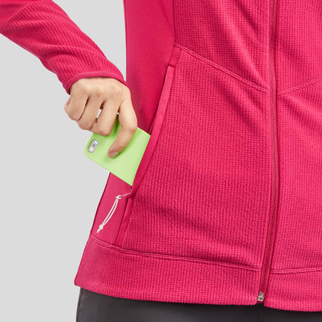 Jaket Fleece Mendaki Gunung Wanita MH520 - Raspberi
