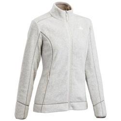 Women's Mountain Hiking Fleece Jacket MH120 - Light Grey
