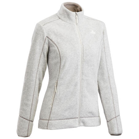 Women's Mountain Hiking Fleece Jacket MH120 - Light Grey