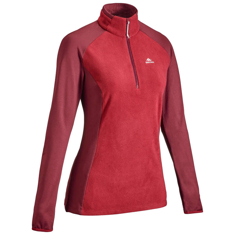WOMEN MOUNT HIKING FLEECES Hiking - Women's Fleece MH500 - Maroon QUECHUA - Hiking Clothes