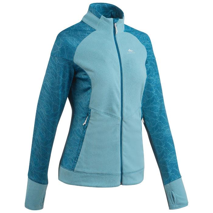 女款登山健行刷毛外套MH520-淺碧藍色