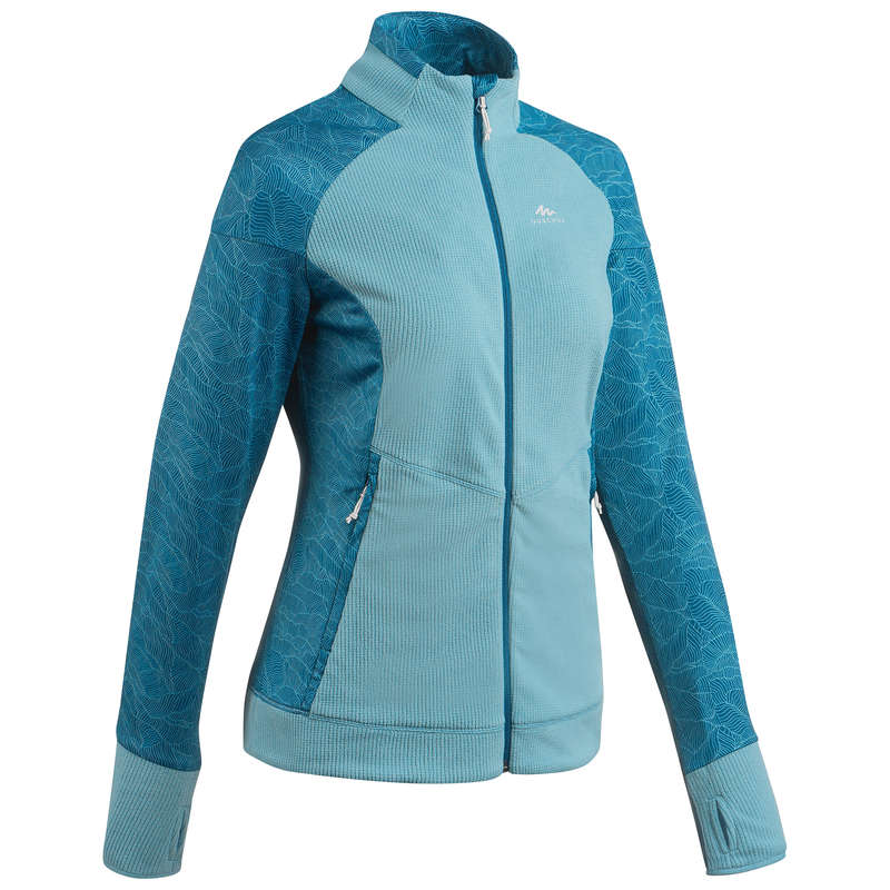 WOMEN MOUNT HIKING FLEECES Hiking - Women's Fleece MH520 - Blue QUECHUA - Hiking Clothes