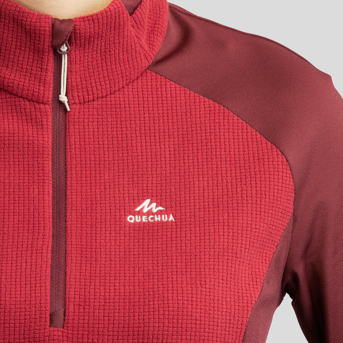 Fleece voor bergwandelen Dames MH500 bordeaux