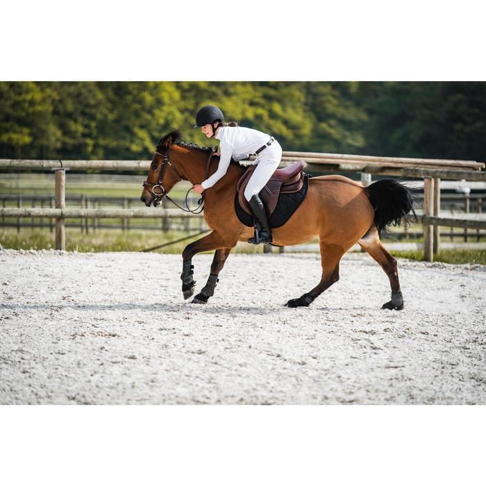 "Silla Equitación Fouganza Padock Caballo Marrón 17""5 Mixta Cuero Arzón Ajustable"
