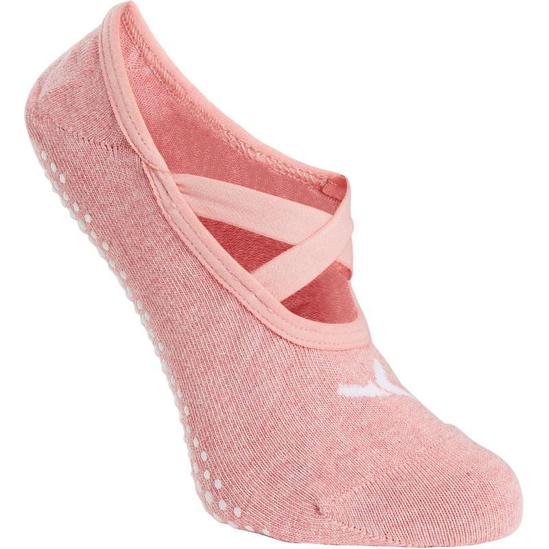 Damenbekleidung Ballerina Socken 500 rutschfest Pilates & sanfte Gymnastik Damen hellrosa