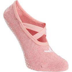 Ballerina-Socken 500 Pilates & sanfte Gymnastik Damen dunkelrosa
