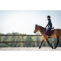 Warme kinderfleece voor paardrijden 500 2 materialen marineblauw/bordeaux