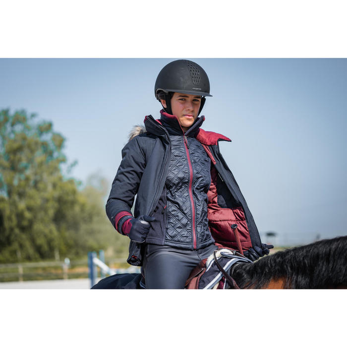 Warme en waterdichte parka voor paardrijden kinderen 500 marineblauw/bordeaux