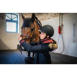 Parka chaude et imperméable équitation enfant 500 WARM marine/bordeaux