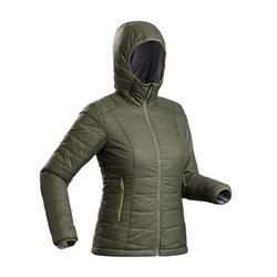 Gewatteerde jas met capuchon voor bergtrekking dames Trek 100 kaki