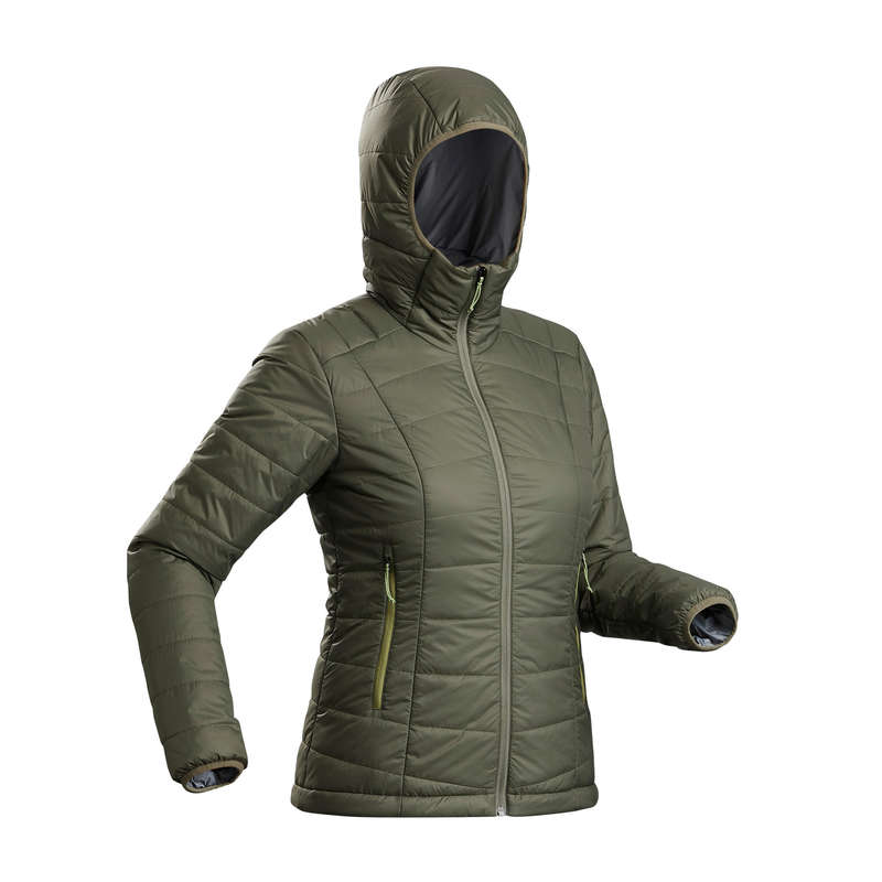 WOMEN DOWN JACKET, VEST MOUNTAIN TREK Trekking - W Hooded padded Jkt TREK100 FORCLAZ - Trekking