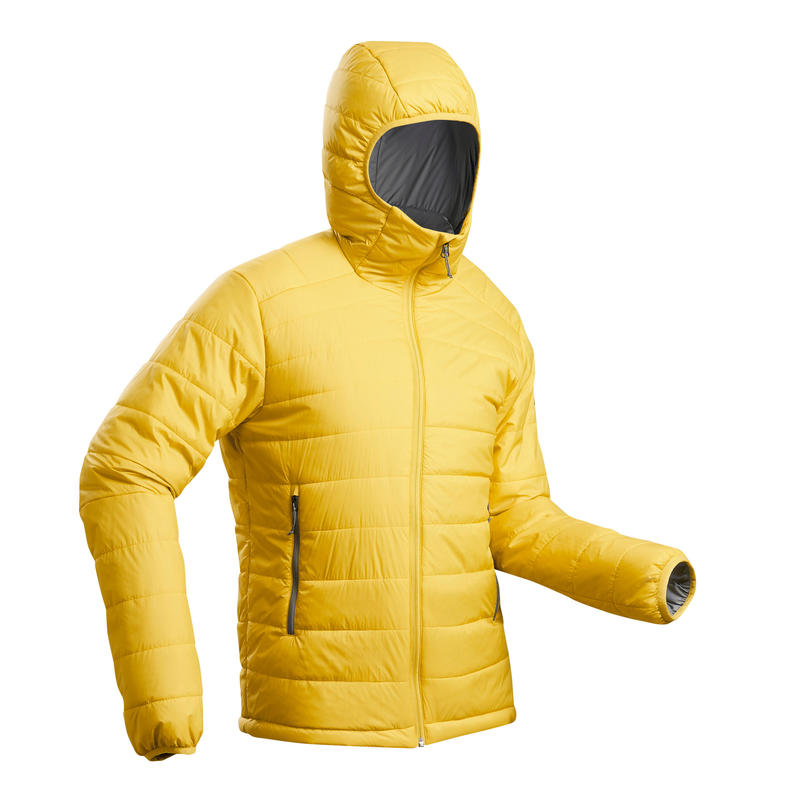 Cham. acolch guata trekking montaña confort-5°C TREK100 capucha amarillo hombre