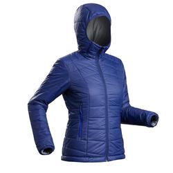Abrigo Chaqueta Acolchada Montaña y Trekking Forclaz TREK100 Capucha Mujer Azul