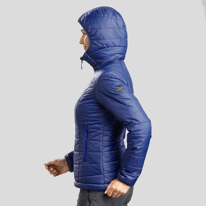 Doudoune trekking montagne TREK 100 capuche femme bleu