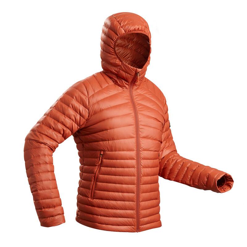 Donsjas voor bergtrekking heren TREK 100 comforttemperatuur -5 °C oranje