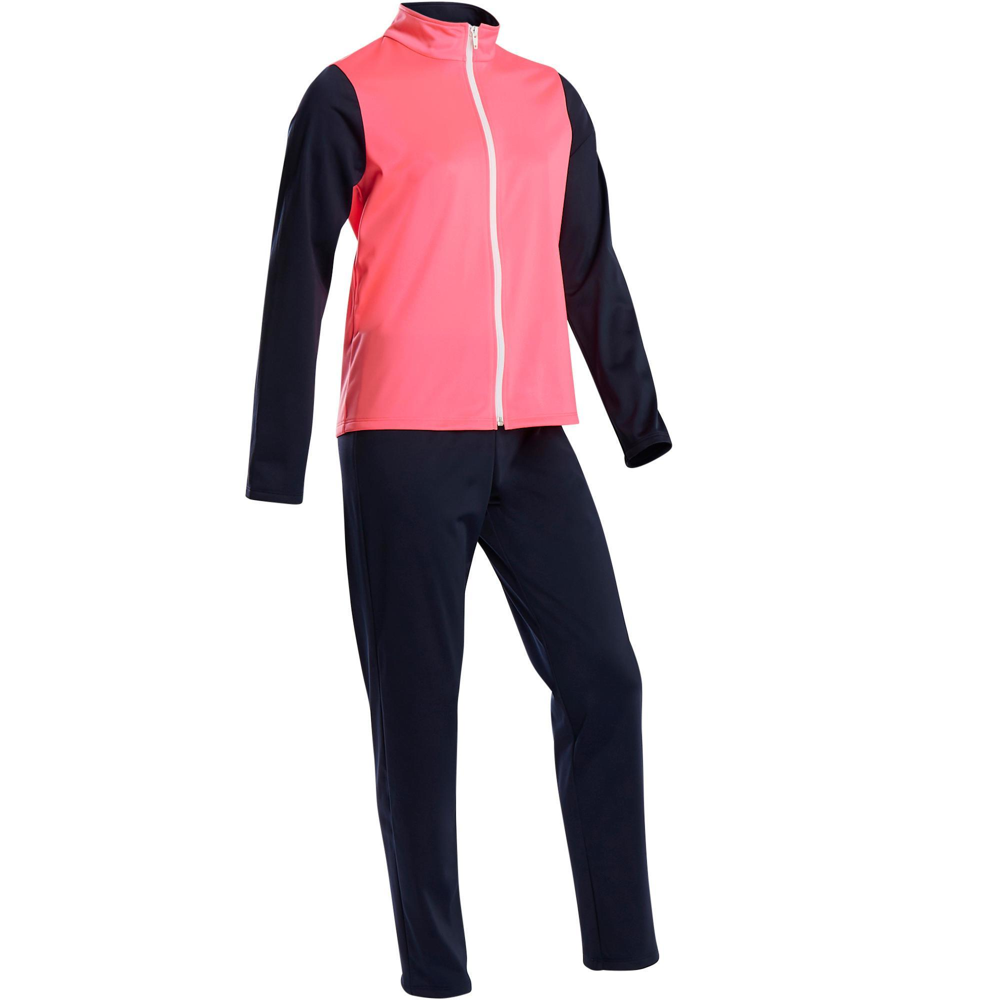 S500 Gym'y Girls' Warm Breathable Synthetic Gym Tracksuit - Blue