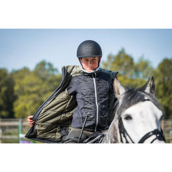 Polaire bi-matière équitation enfant 500 WARM gris