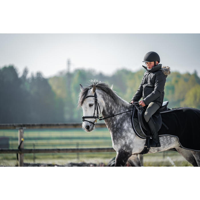 Warme en waterdichte kinderparka voor paardrijden 500 Warm grijs/kaki