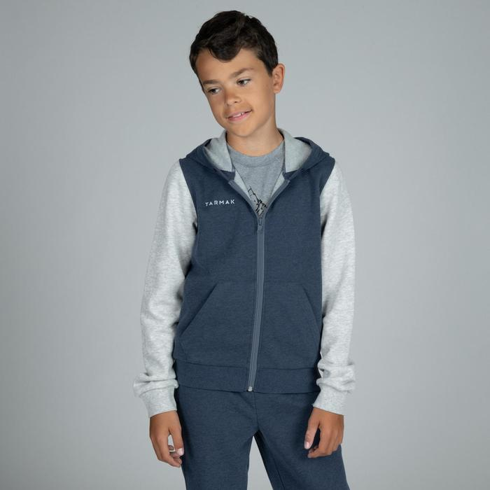 Boys'/Girls' Beginner Basketball Tracksuit Jacket J100 - Navy/Grey