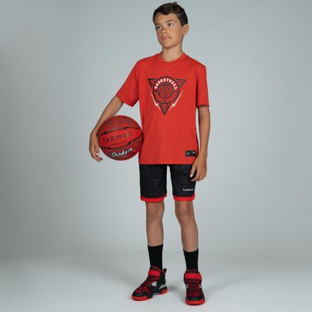 TS500 Boys'/Girls' Intermediate Basketball T-Shirt - Red/Triangle
