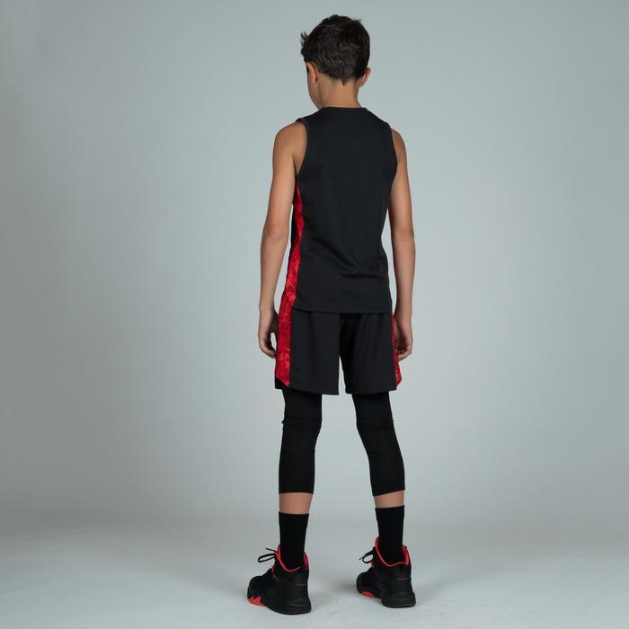 Basketballshorts SH500 Jungen/Mädchen Fortgeschrittene schwarz/rot