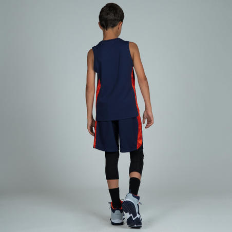 SH500 Boys'/Girls' Celana Basket untuk Pemain Kelas Menengah - Navy/Oranye