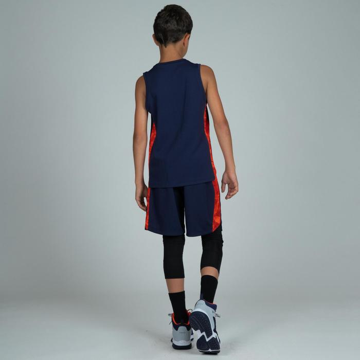 Basketbalshort voor gevorderde jongens/meisjes marineblauw oranje SH500
