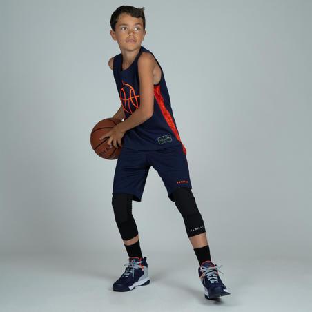 SH500 Boys'/Girls' Basketball Shorts For Intermediate Players - Navy/Orange
