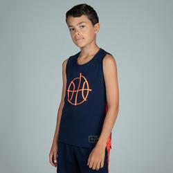 T500 Boys'/Girls' Intermediate Basketball Jersey - Navy/Orange