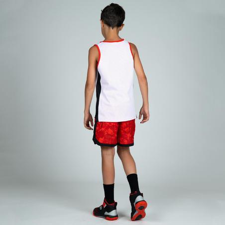 Celana Pendek Pemain Menengah Laki-Laki/Perempuan SH500R - Putih/Merah Bermotif