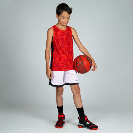 SH500R Boys'/Girls' Intermediate Basketball Reversible Shorts - White/Red Print