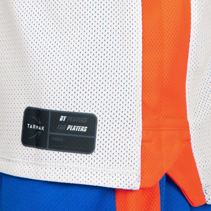 MAILLOT DE BASKETBALL REVERSIBLE GARCON/FILLE CONFIRME(E) BLEU BLANC PLAYG T500R