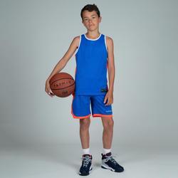 Wendetrikot Basketball T500 Playg Kinder blau/weiß