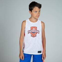 兒童款中階雙面籃球背心T500R-藍色/白色