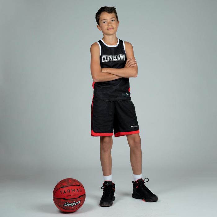 T500R Boys'/Girls' Intermediate Basketball Reversible Jersey - Grey/Black Clev