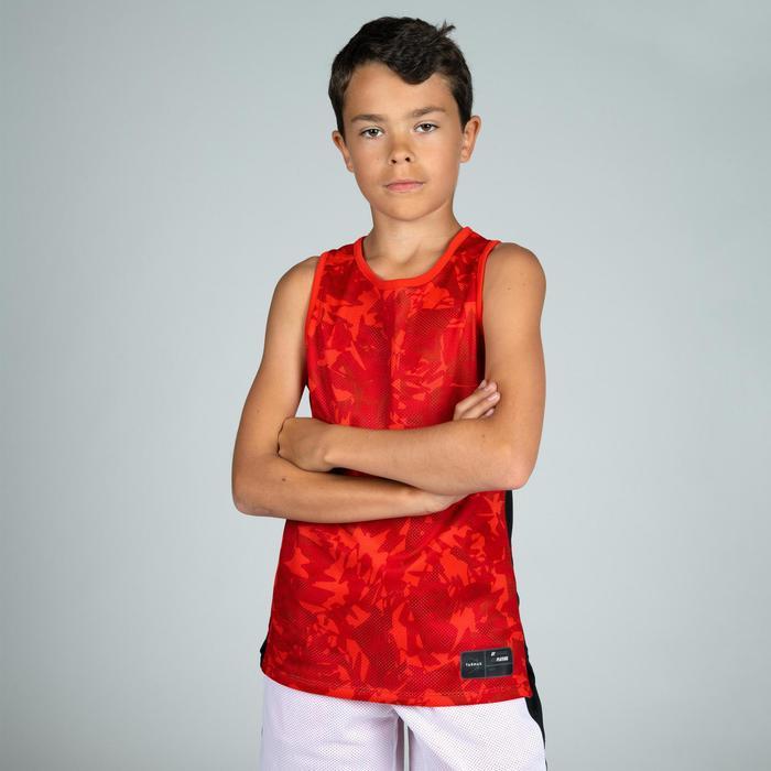 Camiseta Reversibe Baloncesto Tarmak T500R Niños Sin Mangas Rojo Blanco