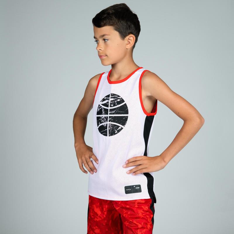 Áo jersey mặt chơi bóng rổ T500R cho bé trai/ gái trình độ trung bình - Đỏ/Trắng